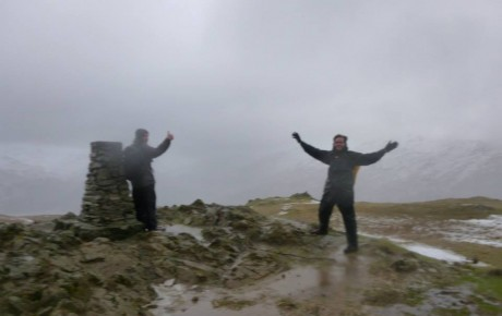 Gareth and Lawrence on Loughrigg on a wild day