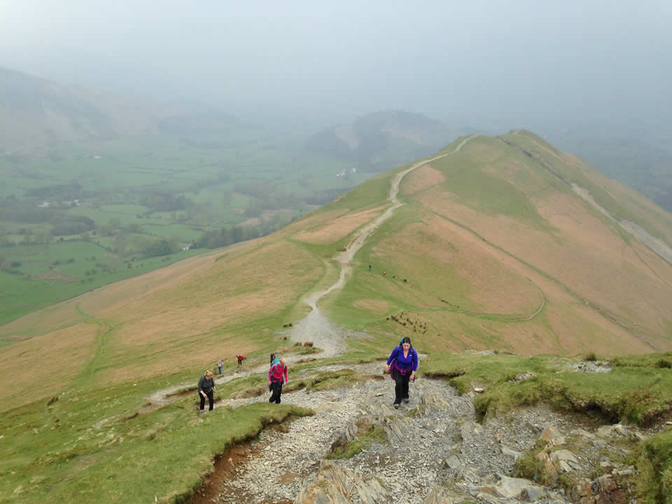 Ruth, Iona and Jo ascending Catbells